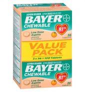 Bayer Aspirin 拜耳阿司匹林低剂量咀嚼片香橙味36片*81mg