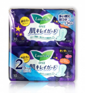 KAO LAURIER Speed+ Soft Overnight Sanitary Napkin with Wings 30cm, KAO花王 LAURIER 乐而雅 夜用卫生巾 有护翼 30cm, 10 pcs*2bag