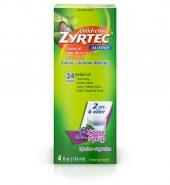 Zyrtec Brand 24 Hour Children's Allergy Syrup, Grape, For 2 Yrs & Older, Dye/Sugar-Free, 4 fl oz (118mL) 无糖过敏糖浆 2岁以上 葡萄味