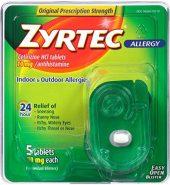 Zyrtec Brand 24 Hour Allergy, 5 Tablets 10mg each 24小时抗过敏药 5粒装
