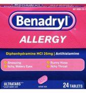 BENADRYL Brand ALLERGY, Ultratabs 24 Tablets 过敏药 24 片