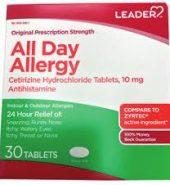 Leader Brand All Day Allergy, Original Prescription Strength, 30 Tablets 过敏药, 适合全日