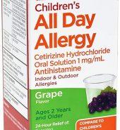 Leader Brand Children's 24 Hour All Day Allergy Relief, Dye/Sugar-Free, Grape Flavor, 4 fl oz (118ml) 儿童24小时过敏药水 葡萄味