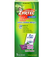 Zyrtec Brand 24 Hour Children's Allergy Syrup, Grape, For 2 Yrs & Older, Dye/Sugar-Free, 1 fl oz (30mL) 无糖过敏糖浆 2岁以上 葡萄味